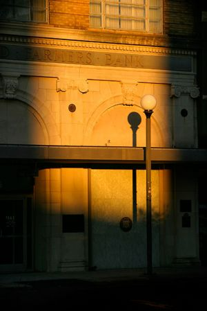 Shadow and light adorn the Merchants bank