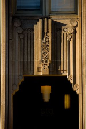 Art decco design on the Entrance to the old Snow Building, designed by the same architectural firm that designed the Empire State Building