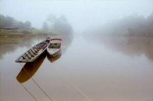 Long boats on a river in Borneo.