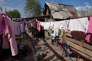 Laundry day in the Roma camp of Beregszász, Ukraine