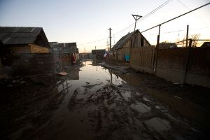 Rains turn dirt roads into muddy rivers through most Roma villages.