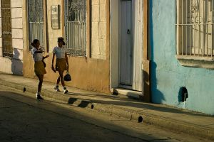 School children returning home in Santiago de Cuba, Cuba.