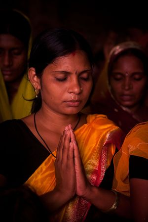 A time of worship, Bihar, India.